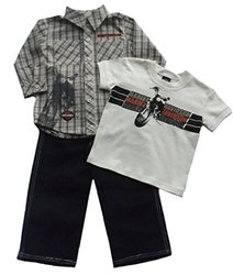 Harley Davidson Toddler Boys 3 pc Outfit Jeans Shirt Tee Apparel (2T)