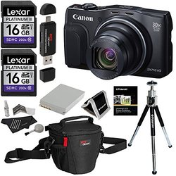 Canon Powershot SX710 HS 20.3MP Camera + Lexar 16GB Memory Card X2 + Polaroid Deluxe Accessory Kit + Polaroid 8 Inch Tripod + Ritz Gear Deluxe Premium Photo Pack Case + Polaroid Canon Battery Bundle