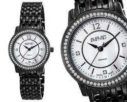 August Steiner AS8027BK Women's Dazzling Diamond Bracelet Watch