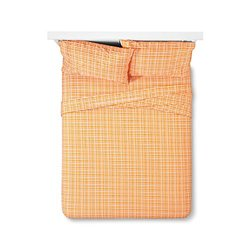 Sabrina 4-Piece Soto Grid Sheet Set - Sizzling Orange - Size: Queen