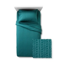Room Essentials Jersey Chevron Print Sheet Set - Turquoise - Size: XL/Twin