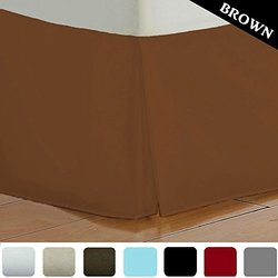 Bed Skirt Long Staple Fiber - Durable, Comfortable & Abrasion Resistant, Quadruple Pleated, 100% Finest Quality by Lux Decor Collection (King ,Brown )