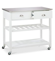 Threshold Quality Design Top Kitchen Island - White