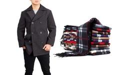 Braveman Men's Wool Blend Coats W/ Scarf - Charcoal - Size: XL