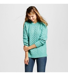 Merona Women's Cable Pullover Sweater - Sea Cascade - Size: Small