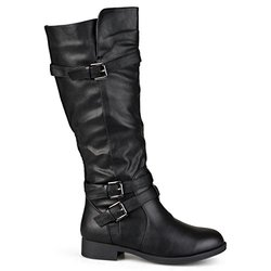 Brinley Co. Womens Knee-High Buckle Riding Boot (7 Wide, Black)