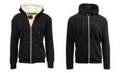 Men's Heavyweight Sherpa-Lined Fleece Hoodie - Navy - Size: Small