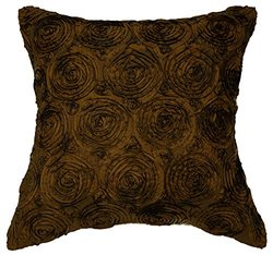 Avarada Solid Floral Bouquet Throw Pillow Cover Decorative Sofa Couch Cushion Cover Zipper 16 x 16 Inchs (40x40 cm) Deep Brown