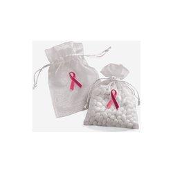 72 Sheer Organza Breast Cancer Awareness Bags Pink Ribbon
