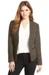 Adrianna Papell Marni Tweed Suiting Jacket - Camel/Black - Size: 4