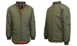 Spire by Galaxy Men's MA-1 Long Flight Jacket - Olive - Size: 2XL