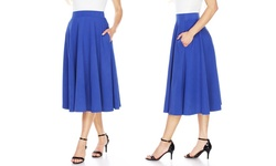 Women's Flared Midi Skirt - Royal - Size: Large