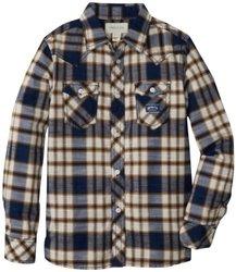 Diesel Big Boys' Cufiggi Plaid Button Front Shirt, Blue, Medium