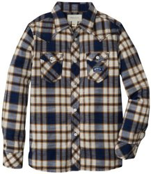 Diesel Big Boys' Cufiggi Plaid Button Front Shirt, Blue, Large