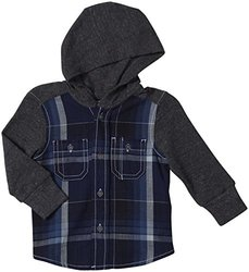 Diesel Ciokib Yarn Dyed Check Hooded Shirt (Baby)-Indigo-6 Months