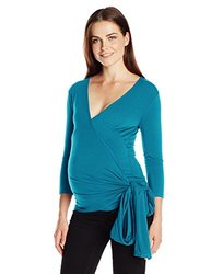 JoJo Maman Bebe Women's Maternity Wrap Top with 3/4 Sleeves, Jade, Large