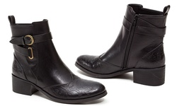French Blu Truffle Women's Ankle High Riding Bootie - Black - Size: 8