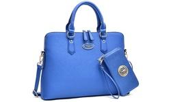 Dasein New York Collection Slim Briefcase And Wallet Set - Blue