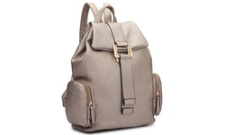 Jansen Drawstring Backpack with Side Pockets: Pewter