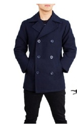 Braveman Men's Wool Blend Double Breasted Coat - Navy - Size: Small