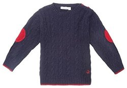 JoJo Maman Bebe Little Boys' Cable Knit Jumper - Navy - Size: 4-5 Years