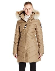 Pajar Canada Women's Brooklyn Long Down Jacket Fur Hood - Tan - Size: L