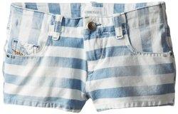 Diesel Big Girls' Prira Shorts and White Stripe, Indigo, 8