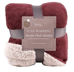 "Fabbrica Home Reversible Sherpa Large Blanket with Faux Sheep Fleece Lining and Warmth-Retention Volcanic Fiber in Red, Gray, Full/Queen, King (RED - Full/Queen, 90"" x 90"")"