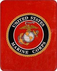 Regal Comfort Oversized Marine Corps Blanket - Red - Queen Size