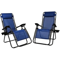 Sunnydaze Navy Blue Zero Gravity Lounge Chair with Pillow and Cup Holder, Set of Two