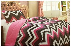 Twin Size 2 Pieces Super Soft Plush Flannel Fleece Sherpa Borrego Chevron Zig Zag Printed Bed Cover Blanket Black , Grey, White, Pink and Red (Black/Grey/White/Pink)