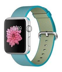 Apple Watch Sport 42mm Silver Aluminum Smartwatch - Scuba Blue Woven Nylon Band