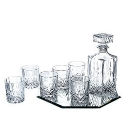 Ingrid 8 Piece Whiskey Set - 6 Dof Glasses 1 Decanter And Mirror Tray