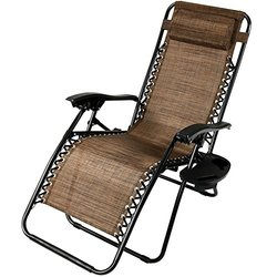Sunnydaze Zero Gravity Lounge Chair with Pillow Cup Holder - Dark Brown