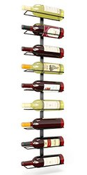 Pampered Grape 9 Bottle Iron Wall Mount Wine Rack - Black