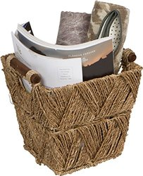 """Trademark Innovations Seagrass & Wood Handled Basket - Size: 9.5"""""""