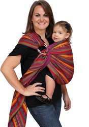 Maya Wrap Lightly Padded Ring Sling Baby Carrier - Bright Stripes - Small