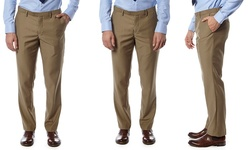 Alberto Cardinali Men's Slim-fit Flat-front Dress Pants - Beige - 34x32