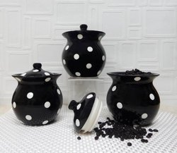 ACK 3 Piece Hand Painted Ceramic Canisters - Black with Polka Dot