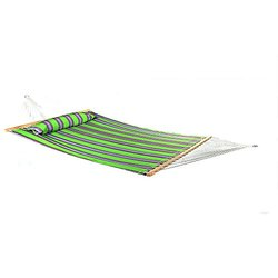 Sunnydaze 2 Person Quilted Fabric Hammock with Spreader Bars and Detachable Pillow Heavy Duty 450 Pound Capacity, Midnight Jungle