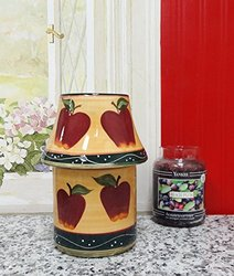 "Tuscan Hand Painted Collection Ceramic Country Apple Candle Holder Lamp 9-1/8""H, 84141 by ACK"