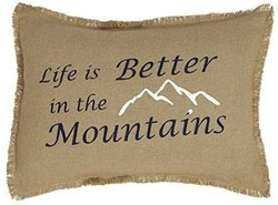 Burlap Natural Pillow Cover Life Is Better-Mountains 14x18