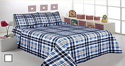 3 Pcs Printed Bedspread Coverlet Quilt Sets - Blue - Size: King