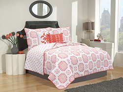 HFD Filigree Collection 5-Piece Polyester Bed Quilt Set - Coral - Size: T