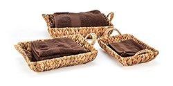 Trademark Innovations - Rectangular Hyacinth Baskets/Handles - Set of 3