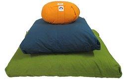 Zabuton Cushion: Kapok-filled, 100% Organic Cotton Cover Meditation Cushion (Black, Medium 24 X 24)
