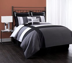8 Piece Isa Grey/Black/white Microfiber Patchwork Comforter Set Queen