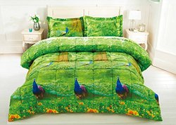 BednLinens 3Pc Stitched Peacock Prints 3D Comforter Set -Green -Size: King