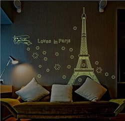 Amaonm Glow in the Dark Wall Decal Loves in Paris Eiffel Tower