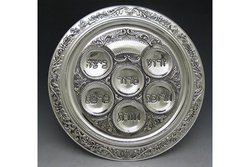 Passover Seder Plate (Karah), Specifically Designed for the 6 Symbolic Foods Eaten at the Passover Seder; Silver-Plated, 16""